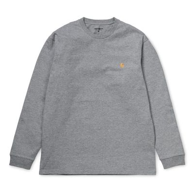 Carhartt WIP L/S Chase T-Shirt Combed Grey Heather/Gold