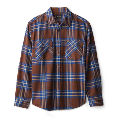 Brixton Bowery L/S X Flannel Washed Brown/Mineral Blue
