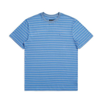 Brixton Hilt Mini Stripe S/S Knit Slate Blue/River Blue