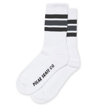 Polar Skate Co. Stripe Socks Wht / Black / Grey