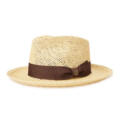 Brixton Swindle Straw Fedora Dark Tan