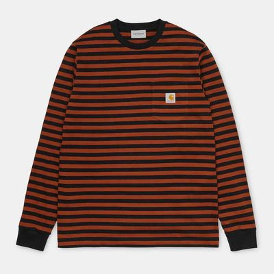 Carhartt WIP L/S Parker Pocket T-Shirt Parker Stripe Black/Brandy