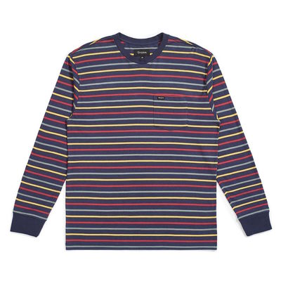 Brixton Hilt L/S Pocket Washed Navy/Lava Red