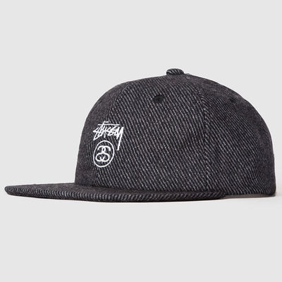 Stussy Stock Lock Wool Strapback Cap Charcoal