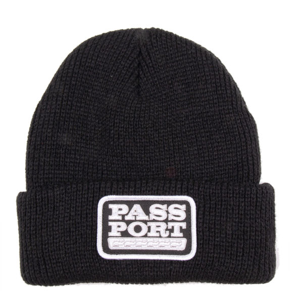 PassPort Auto Patch Waffle Knit Beanie Black