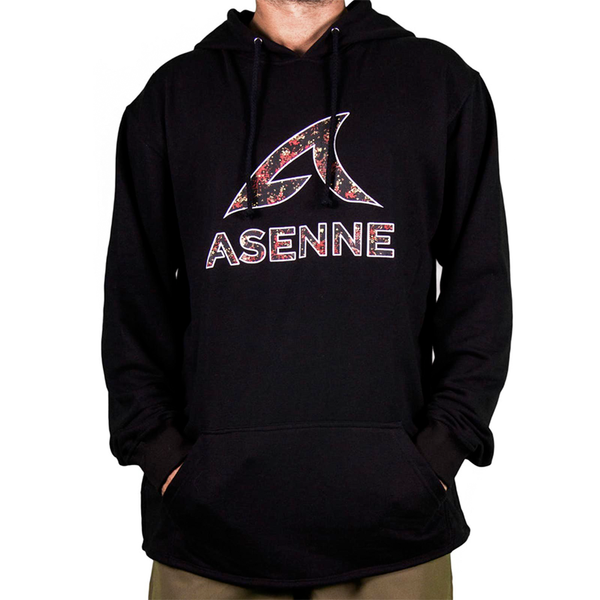 Asenne Flower Embroidered Hoodie Black