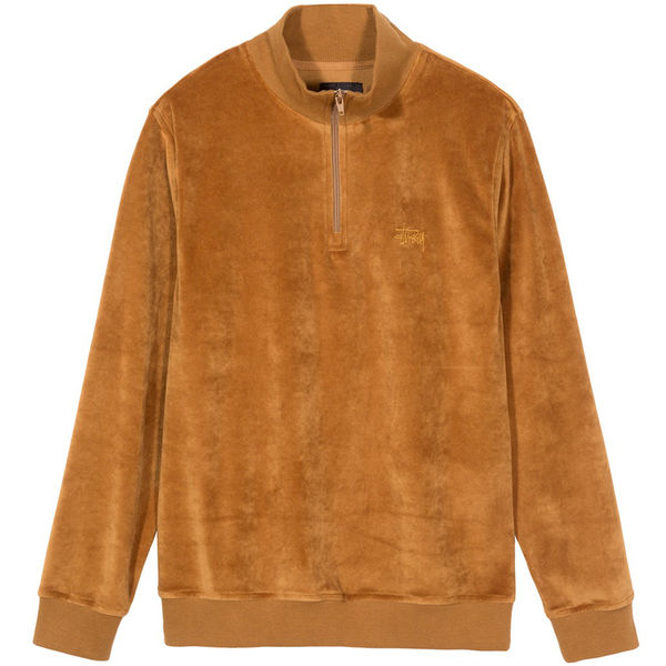 Stüssy Velour LS Zip Mock Rust