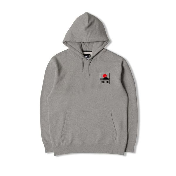 Edwin Sunset On MT Fuji Hoodie Sweat Heavy Felpa Mid Grey Marl Garment