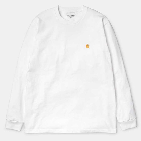 Carhartt WIP L/S Chase T-Shirt Combed White/Gold