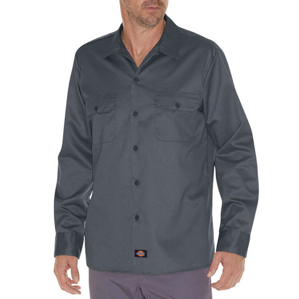 Dickies Slim LS Work Shirt Charcoal Grey